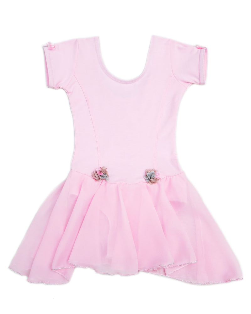 Pink Chiffon Skirted 2 Flower Ballet Dress