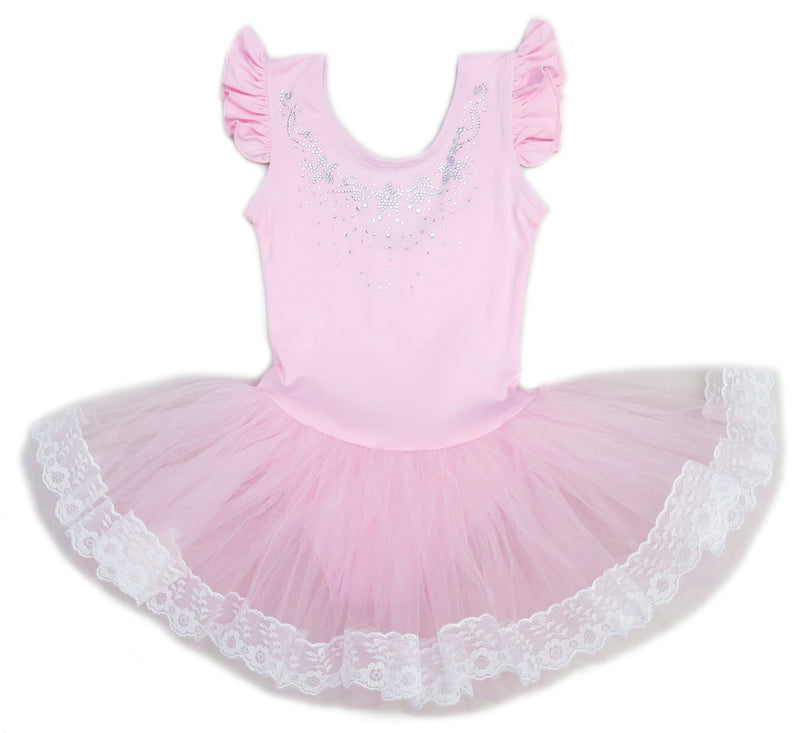 Pink Rhinestone Star Lace Trim Ballet Dress