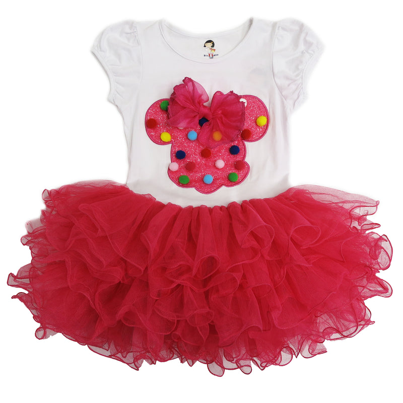 White & Pink Minnie Bow Dress Rainbow Dot