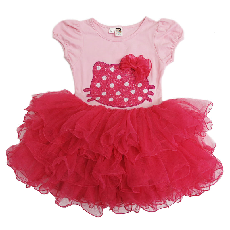 Pink & Hot Ink Kitty Bow Dress