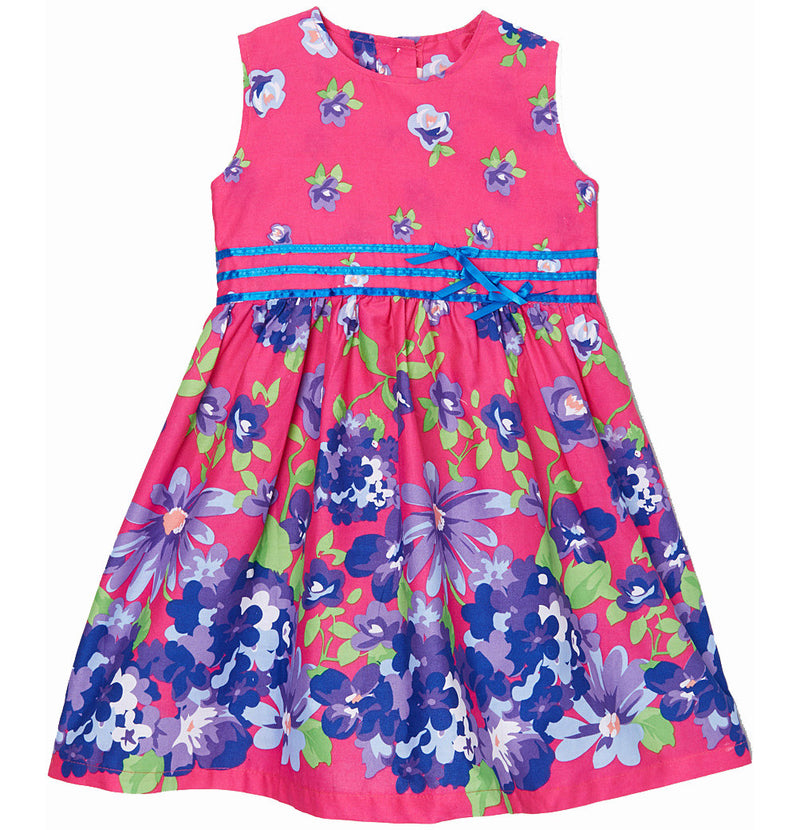 Hot Pink/Blue Floral Cotton Dress