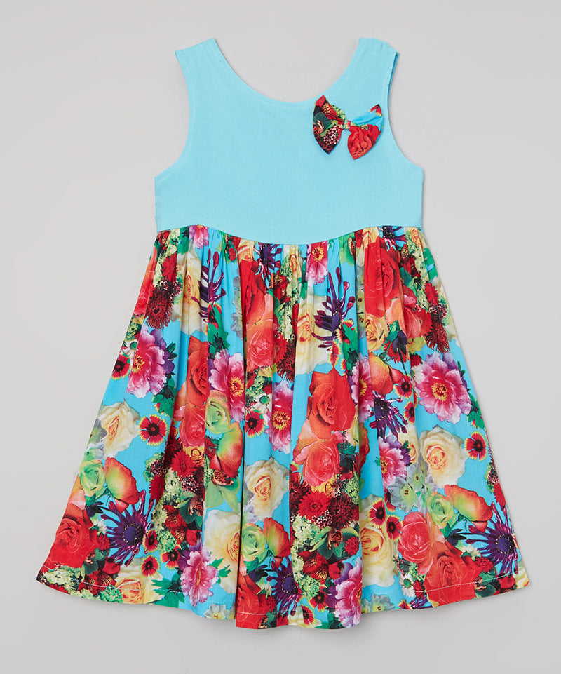 Blue Floral Cotton Dress