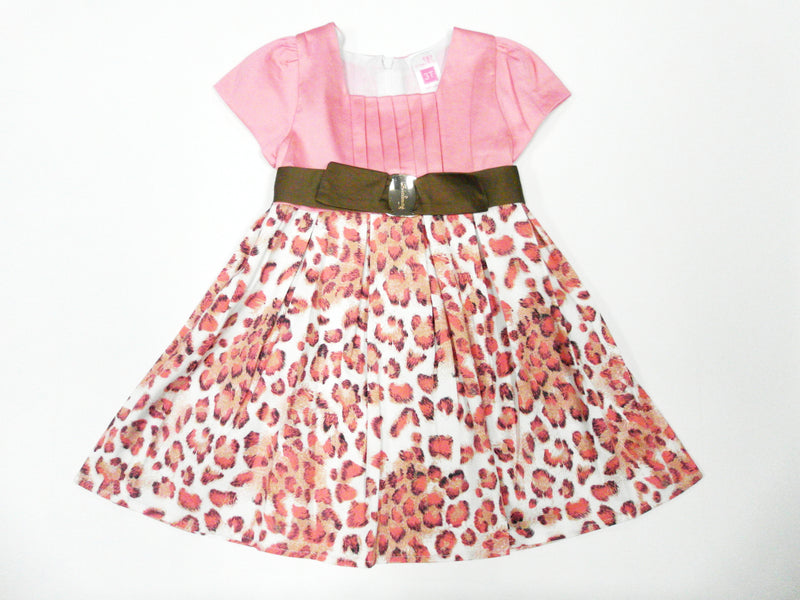 Pink Leopard Ruffles Cotton  Dress