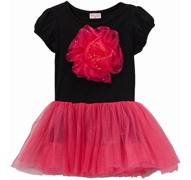 Black/Hot Pink With Organy Flower Dress
