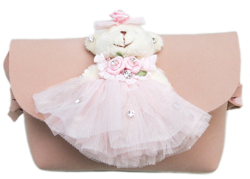 Pink Bear Doll Leather Purse Leather Strap