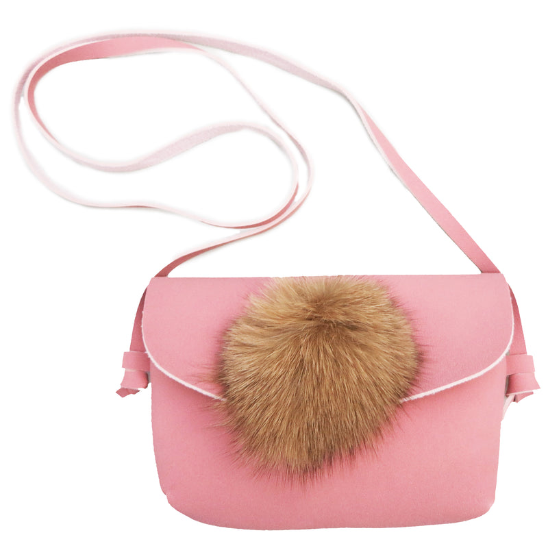 Pink Fur Leather Purse Leather Strap