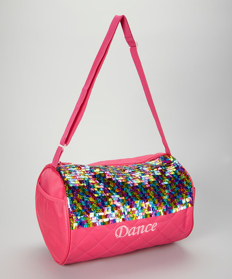 Hot Pink / Rainbow Sequin Dance Duffel