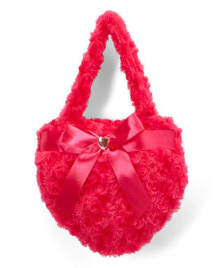Hot Pink Heart Velvet Purse