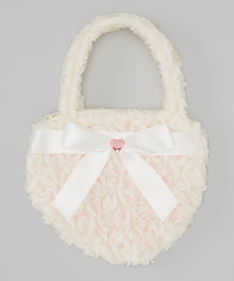 White Heart Velvet Purse