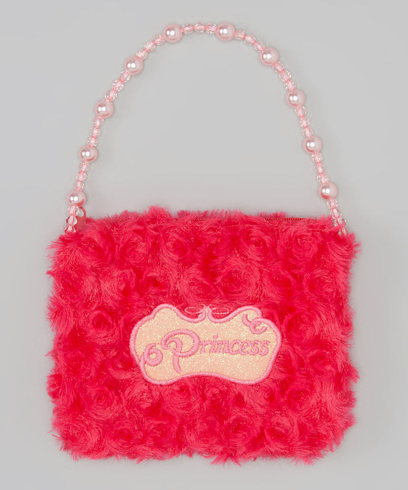 Hot Pink Princess Pearl Velvet Purse