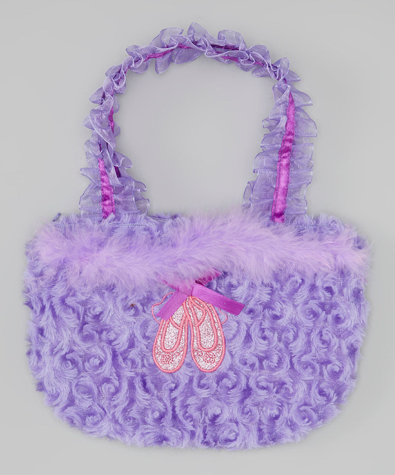 Purple Ballet Shoe Velvet Purse
