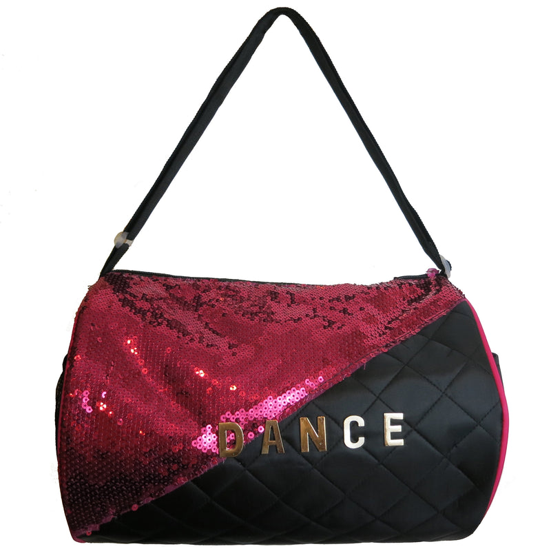 Black & Hot Pink Sequin Dance Duffel