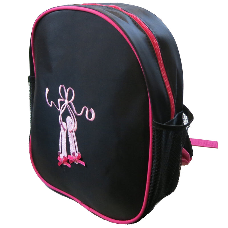 Black Back Pack With Pink Ballet Shoe