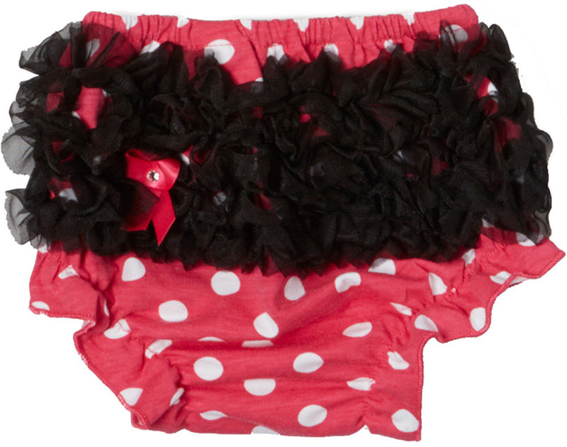 Pink Dot Cotton Bloomer With Black Ruffle