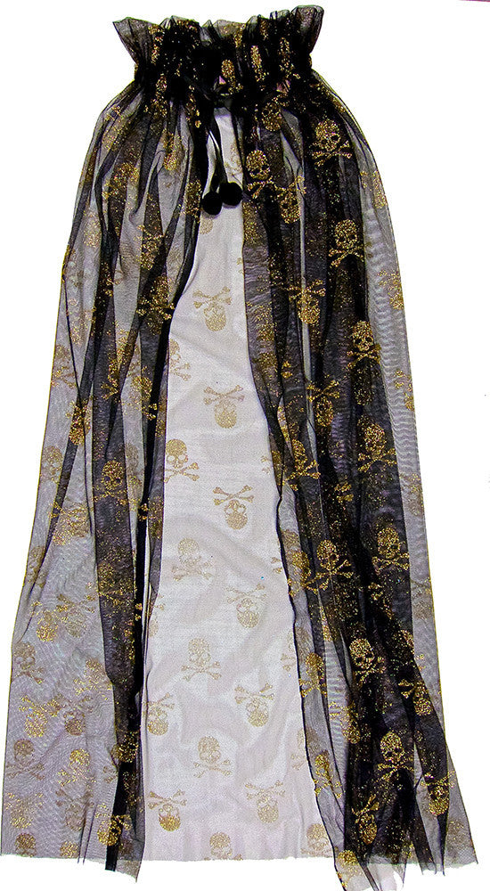 Black Cape With Gold Skull