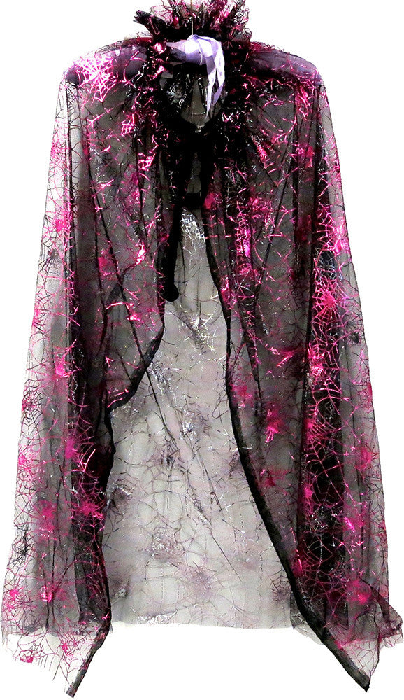 Black Cape With Hot Pink Spiderweb