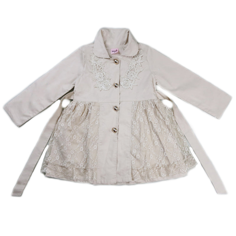 Beige Lace Wind-Resistant Coat