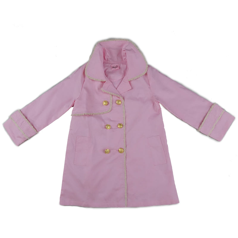 Pink Double-Breasted Wind-Resistant Coat