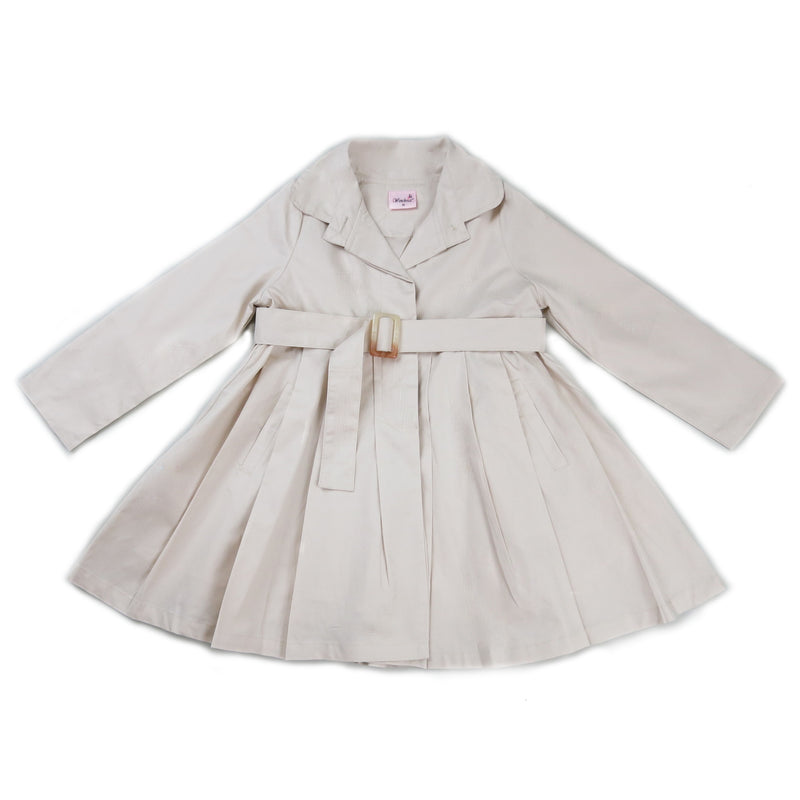 Beige Crease Wind-Resistant Coat