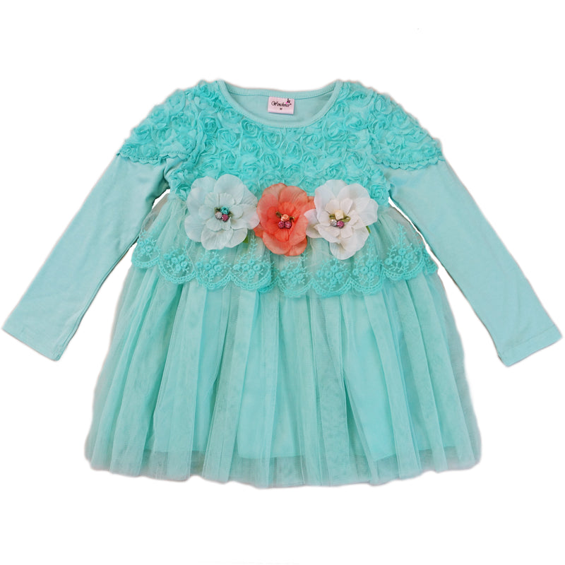 Teal 3-D Flowers Long Sleeve Dress