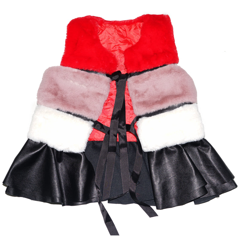 Red/Lavender/White Plush Vest Leather Skirted