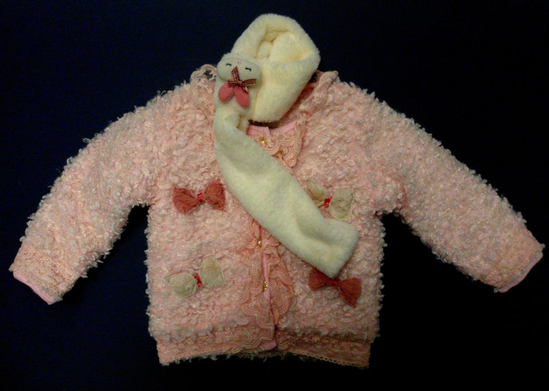 Pink Bow Plush Coat