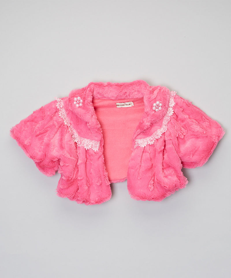Hot Pink Lace Trim Short Coat