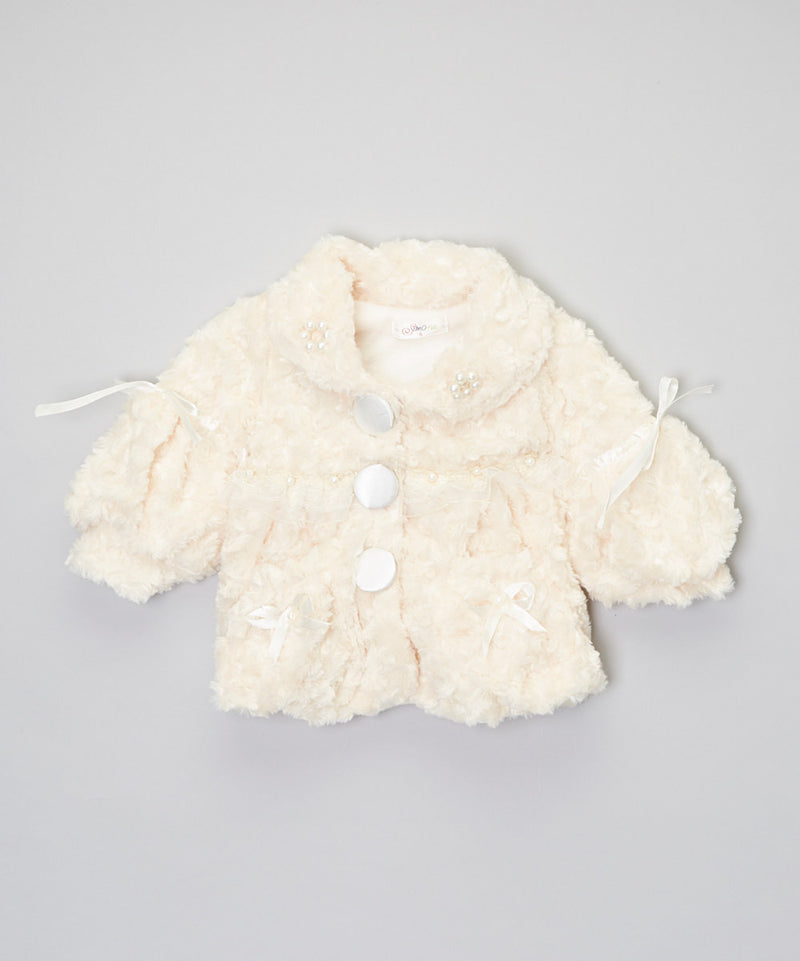 Ivory Button Long Sleeve Coat