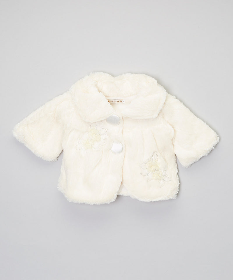 Ivory Flower Long Sleeve Coat
