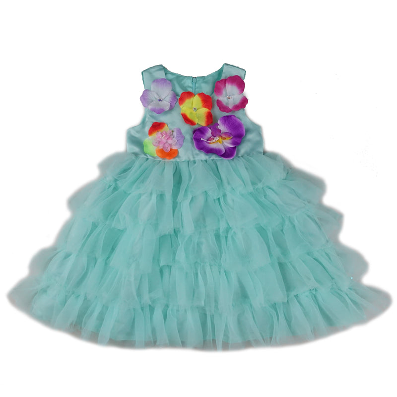 Teal Layers 3-D Flower Dress