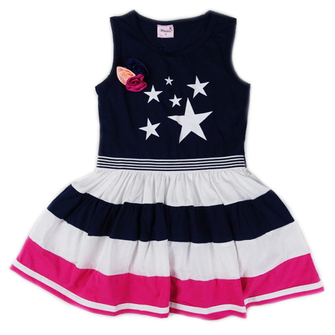 Navy Blue Star Cotton Polo Dress