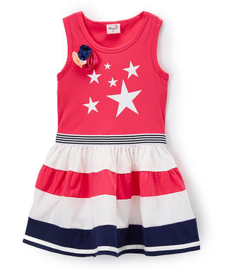 Hot Pink Star Cotton Polo Dress