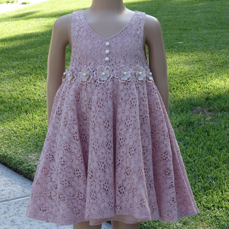 Peach Lace Baby Doll Dress