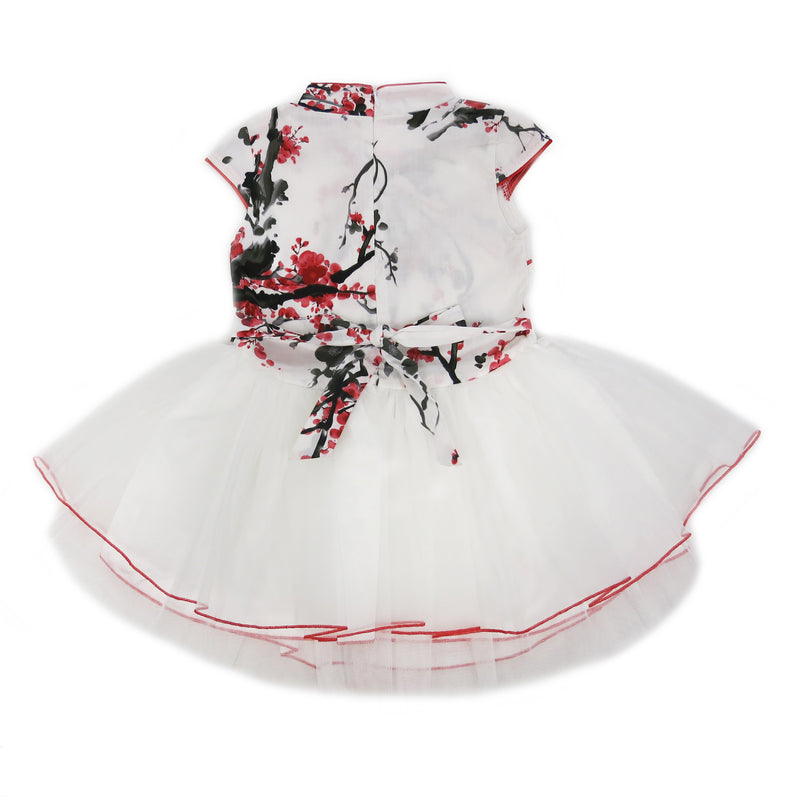 Red/White Plum Flower Cotton Cheongsam Style Dress