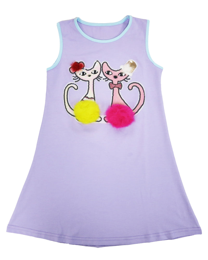 Lavender Sequins & Pompom Couple Cats Cotton Dress