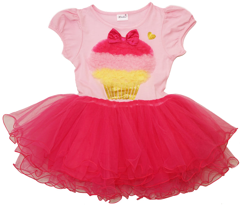 Pink/Hot Pink Ruffle Cup Cake Dress