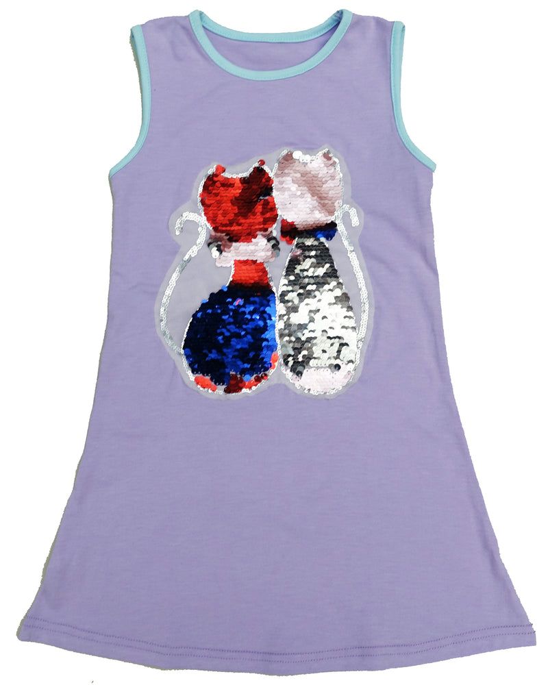 Lavender Reversible Sequins Dual Cat Cotton Dress