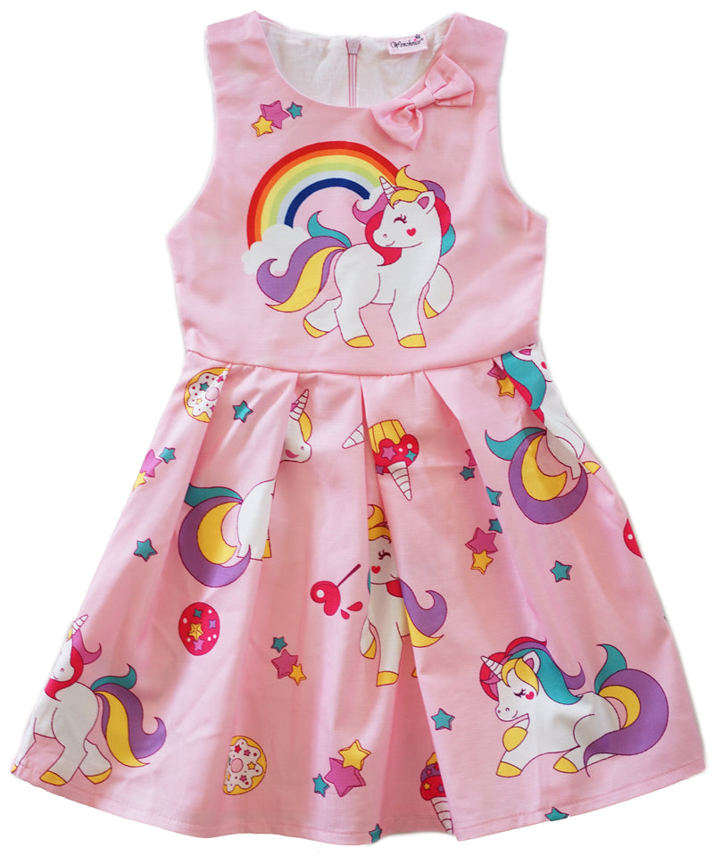 Pink Unicorn A-Line Cotton Dress