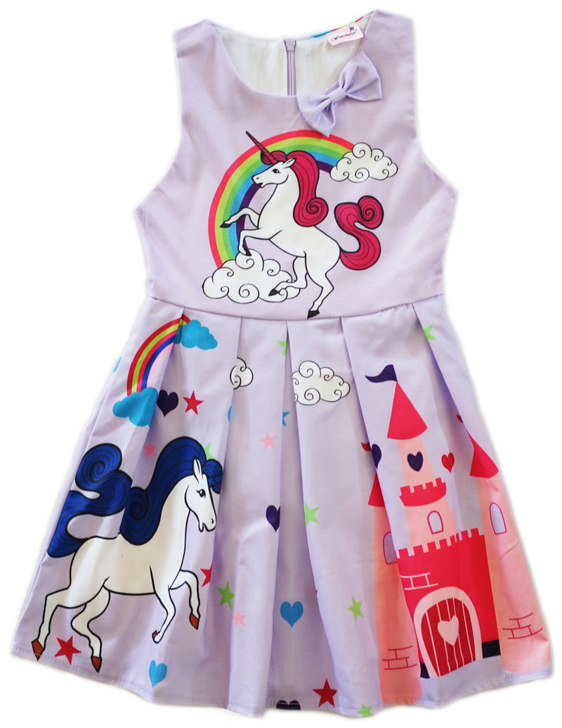 Lavender Unicorn A-Line Cotton Dress