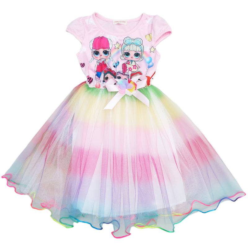 Pink LOL Rainbow Tulle Dress