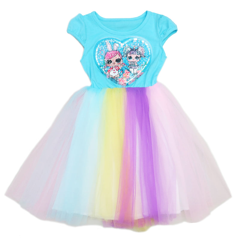 Blue Sequins LOL Rainbow Tulle Dress