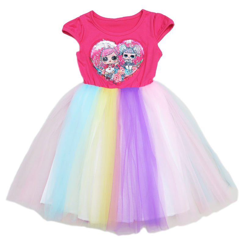 Hot Pink Sequins LOL Rainbow Tulle Dress