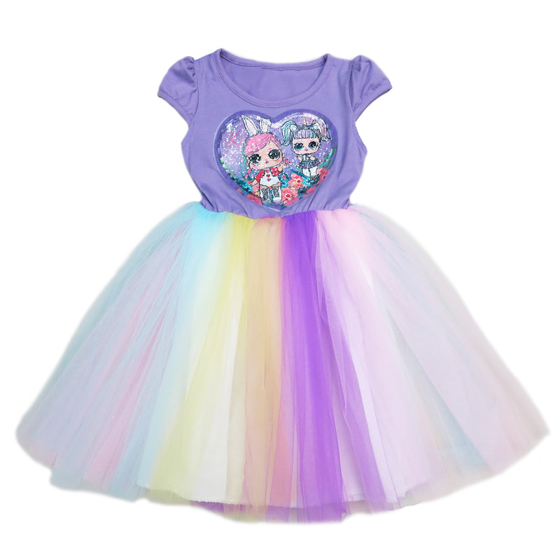 Lavender Sequins LOL Rainbow Tulle Dress