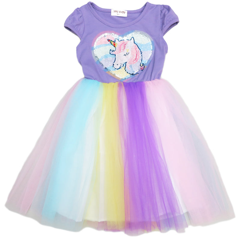 Lavender Sequins Unicorn Rainbow Tulle Dress