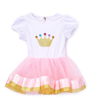 Pink/White & Gold Crown Dress