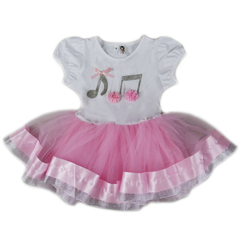 Pink/White & Silver Music Note Dress