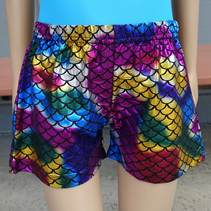 Rainbow Mermaid Scale Shorts For Dance/Gymnastic/Swimming
