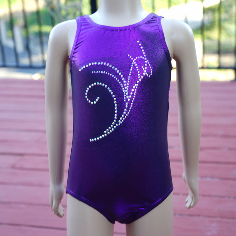 Kid's Purple Rhinestone Lily Leotard