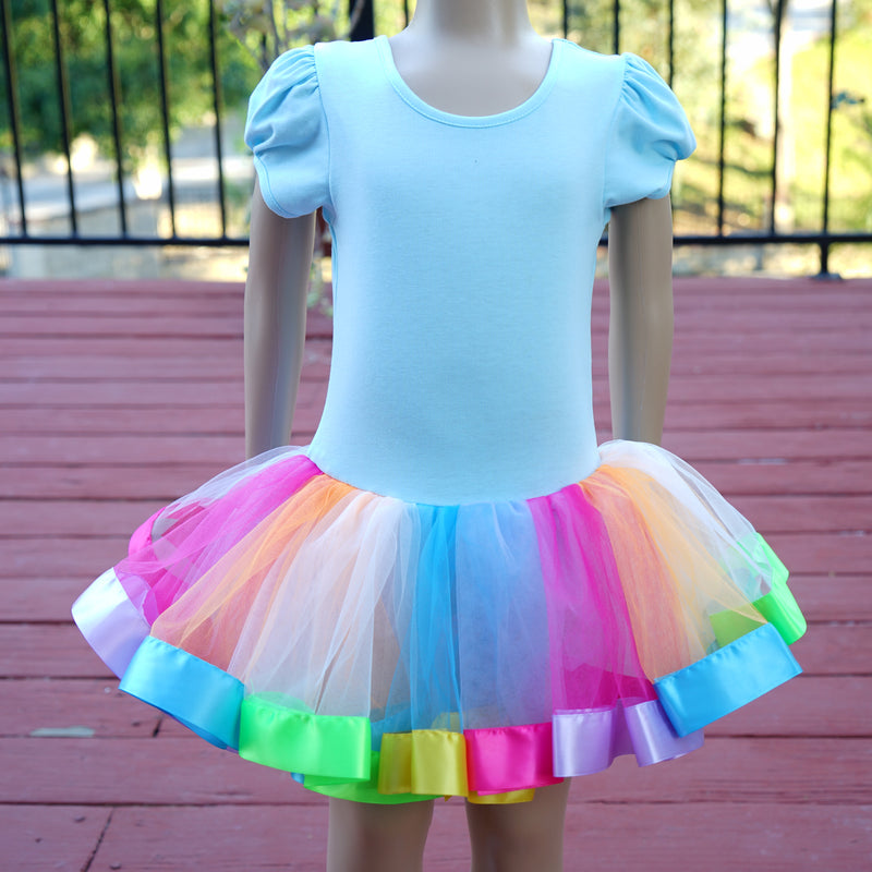 Baby Blue & Rainbow Unicorn Ballet Dress
