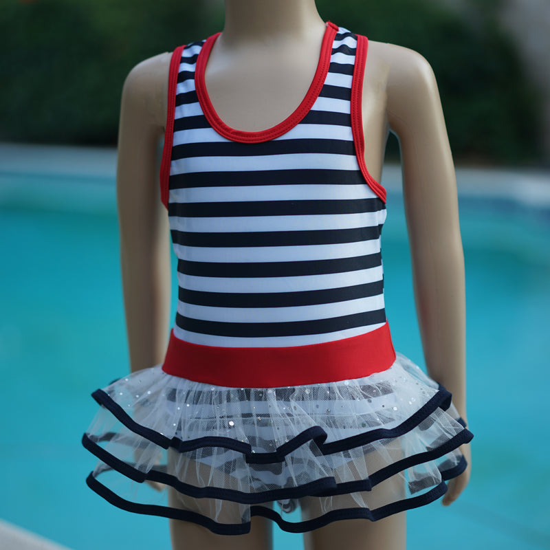 Navy Blue & White Stripe Skirted Swimming Suit